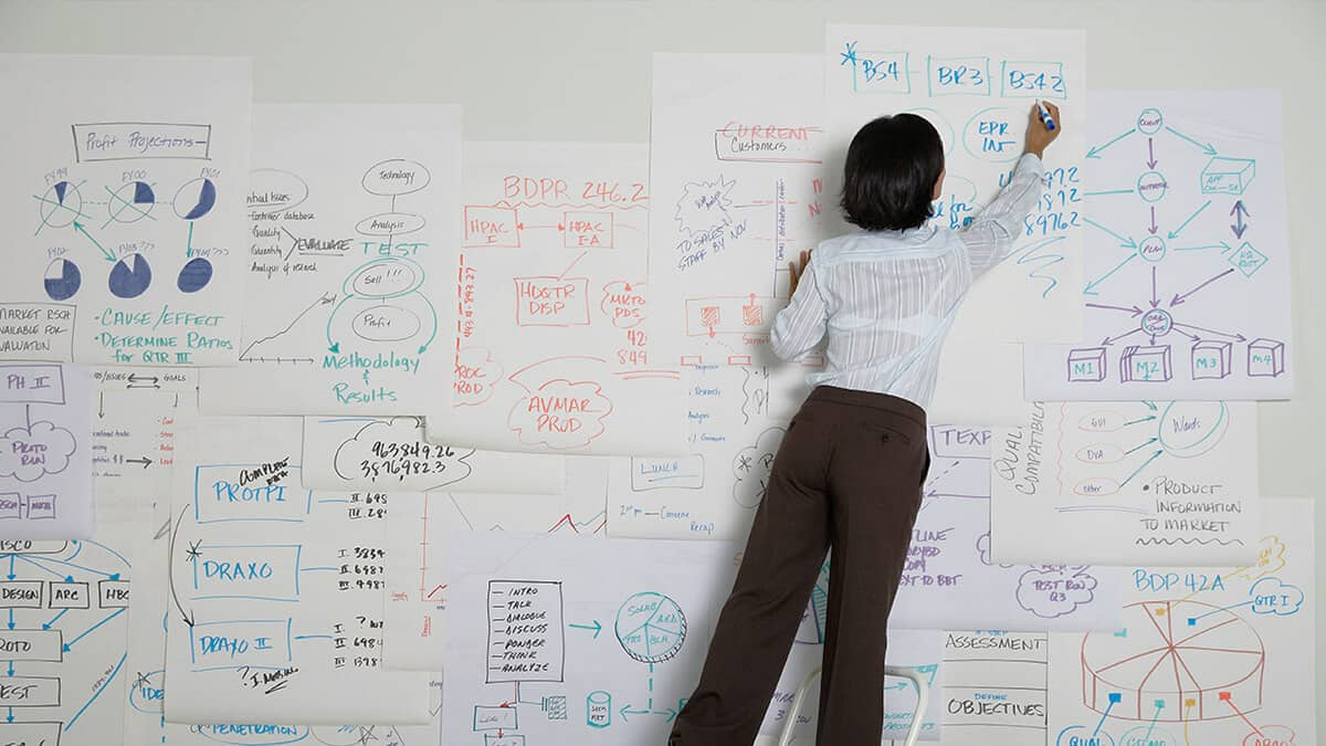 lady mapping out business key metrics